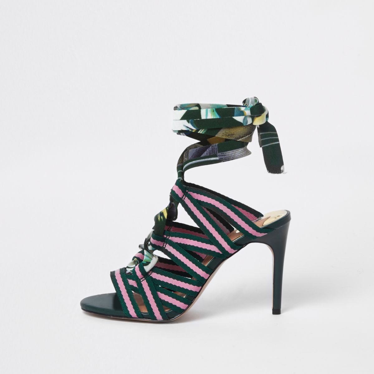 Green stripe caged tie up sandals
