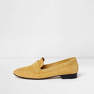 Yellow suede studded loafers