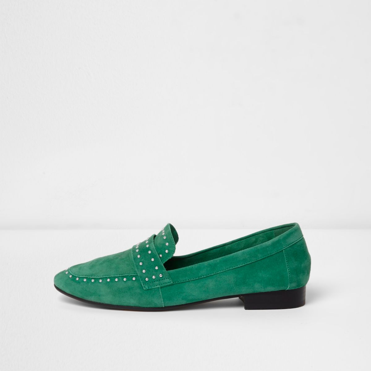 Green suede studded loafers
