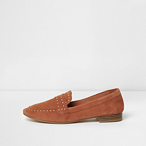 Orange suede studded loafers