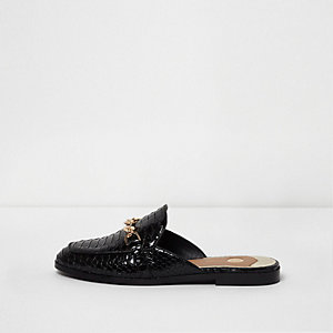 Black patent croc backless loafers