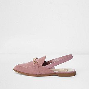 Hellrosa Loafer mit Zehenriemen