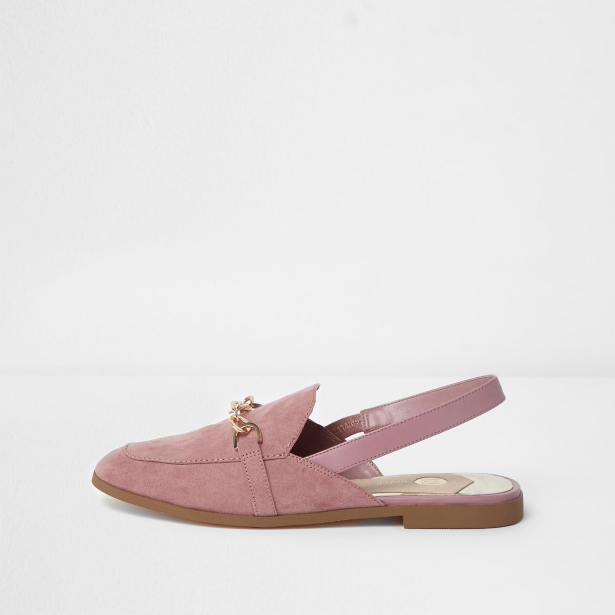 Light pink snaffle slingback backless loafers
