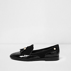 Black patent mix fabric tassel loafers