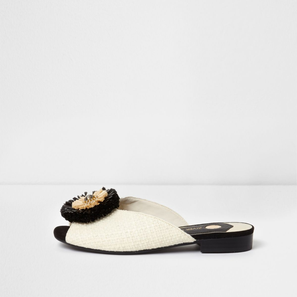 White raffia brooch mules