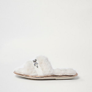 Cream faux fur embellished slider slippers