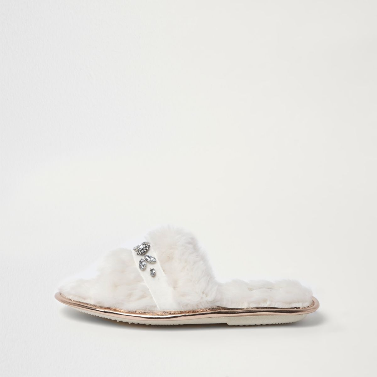 River Island Womens Cream faux fur sliders Ooofwnrqhv
