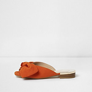 Orange bow mules