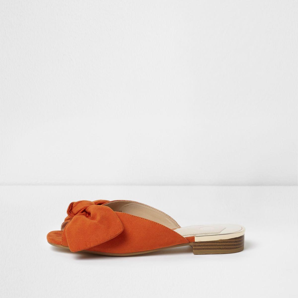 Orange bow mules