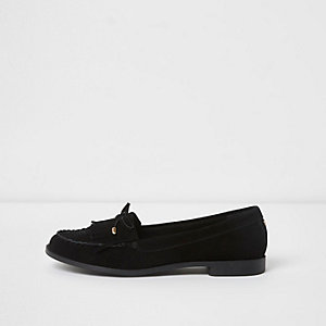 Black suede fringe bow loafers