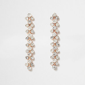 Rose gold tone rhinestone drop earrings