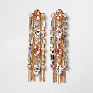Gold tone jewel chain tassel drop earrings