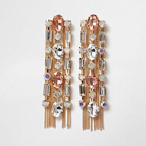 Gold tone jewel chain tassel drop earrings