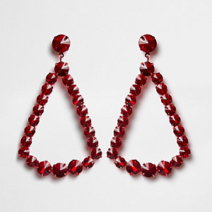 Red jewel triangle drop earrings
