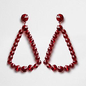 Red jewel triangle drop earrings