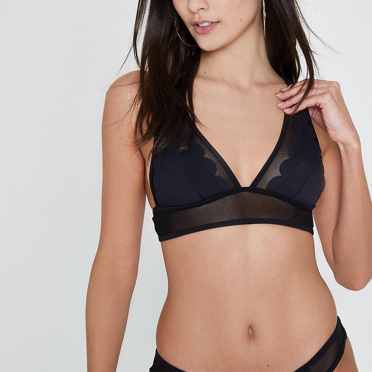 Black scallop mesh triangle bikini top