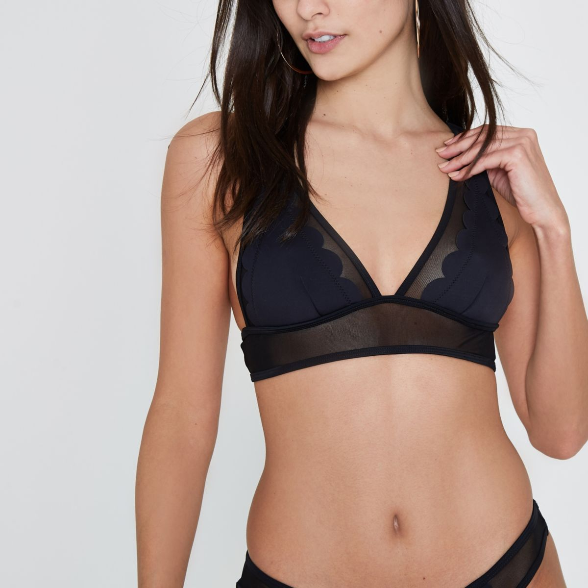 Black scallop mesh triangle bikini top