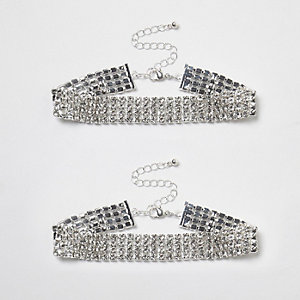 Silver tone rhinestone sparkly anklet pack
