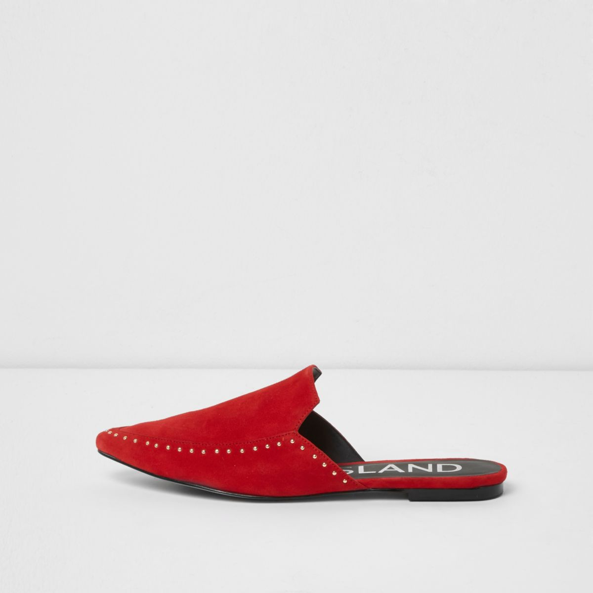 Red studded pointed backless loafers