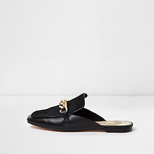 Black ponyhair leather chain backless loafers