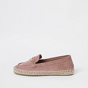 Pink suede snaffle espadrille loafers