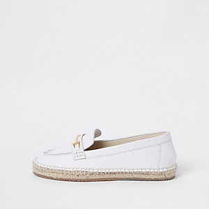 White leather snaffle espadrille loafers