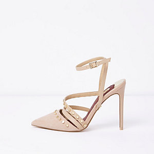 Beige studded pointed toe strappy pumps