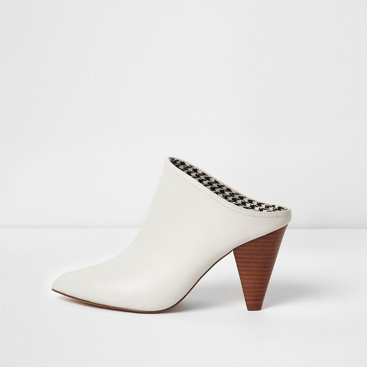 White pointed toe cone heel mules