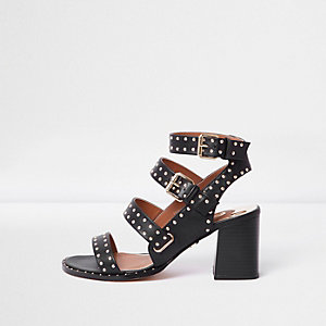 Black studded strappy block heel sandals