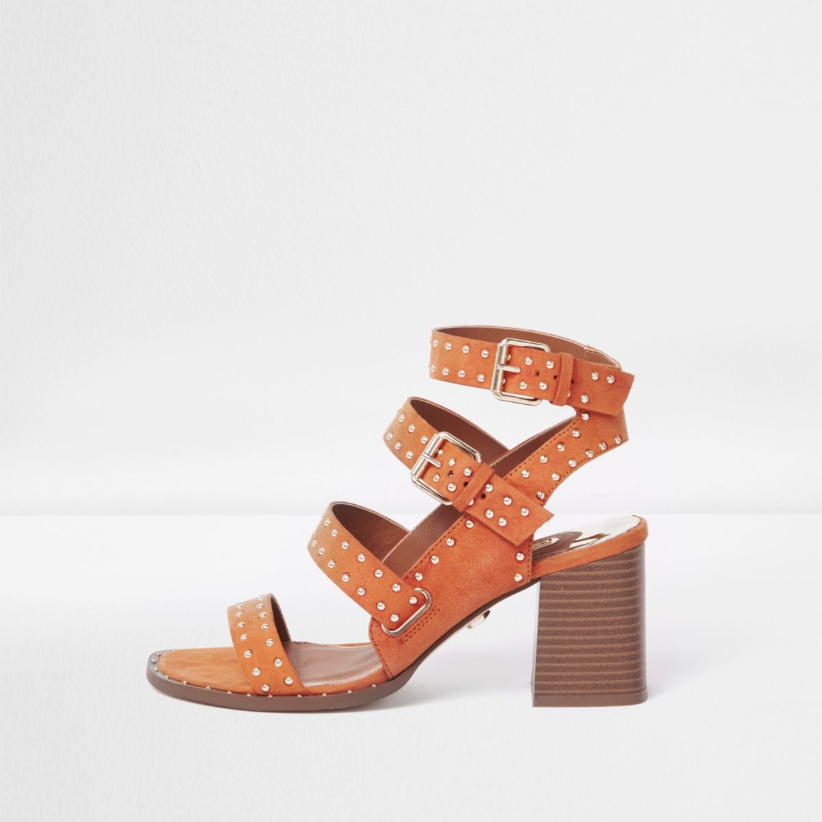 Orange studded strappy block heel sandals
