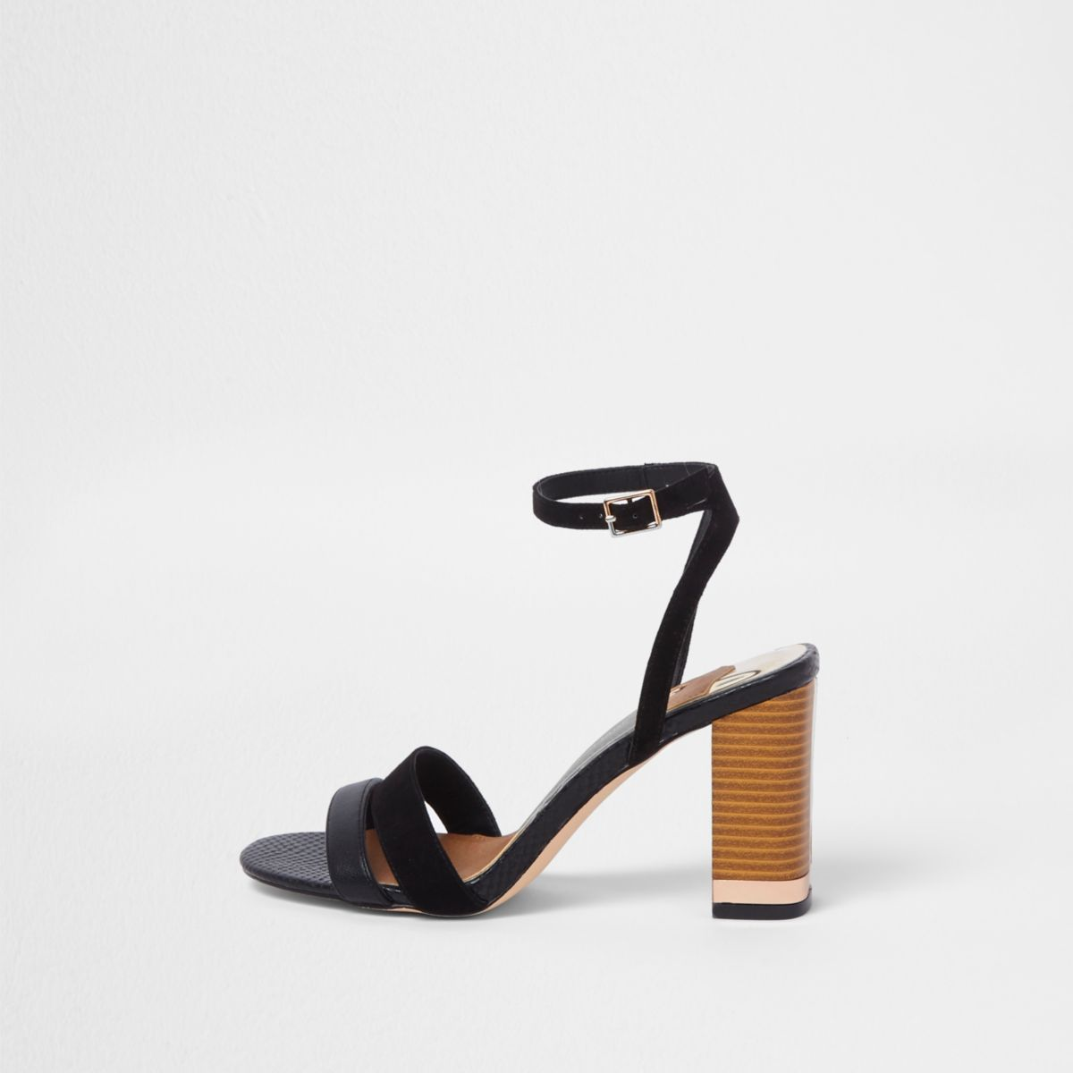 Black barely there block heel sandals