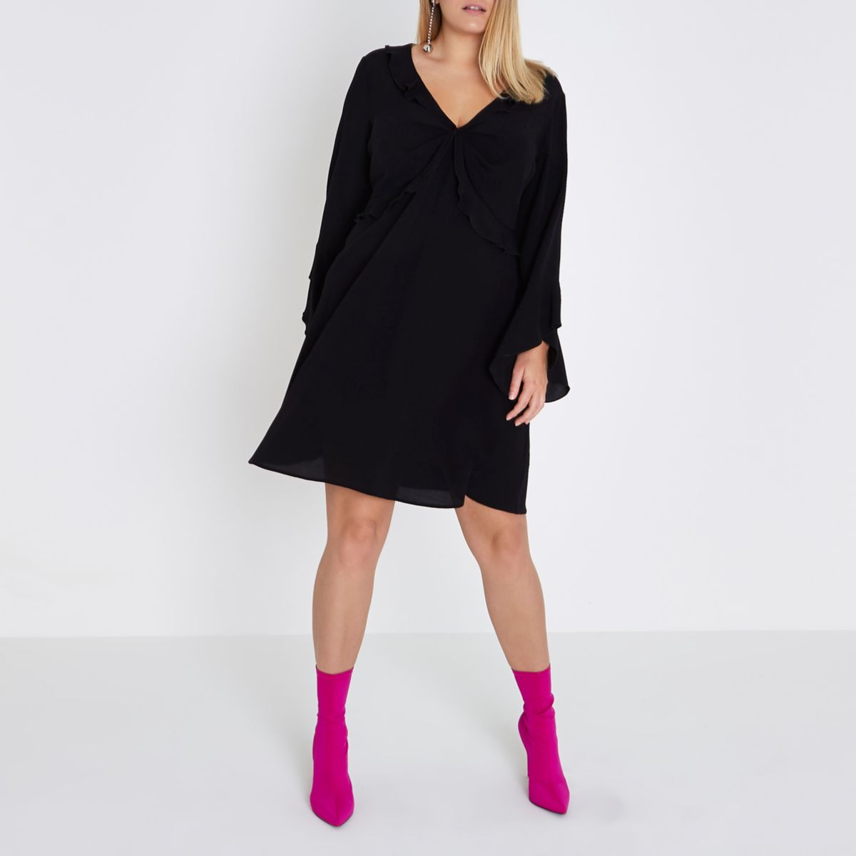 Plus black twist V neck frill swing dress
