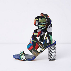 Blue tropical tie up block heel sandals
