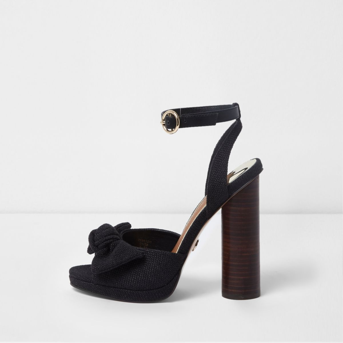 Black bow front block heel sandals
