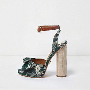 Green tropical bow front block heel sandals