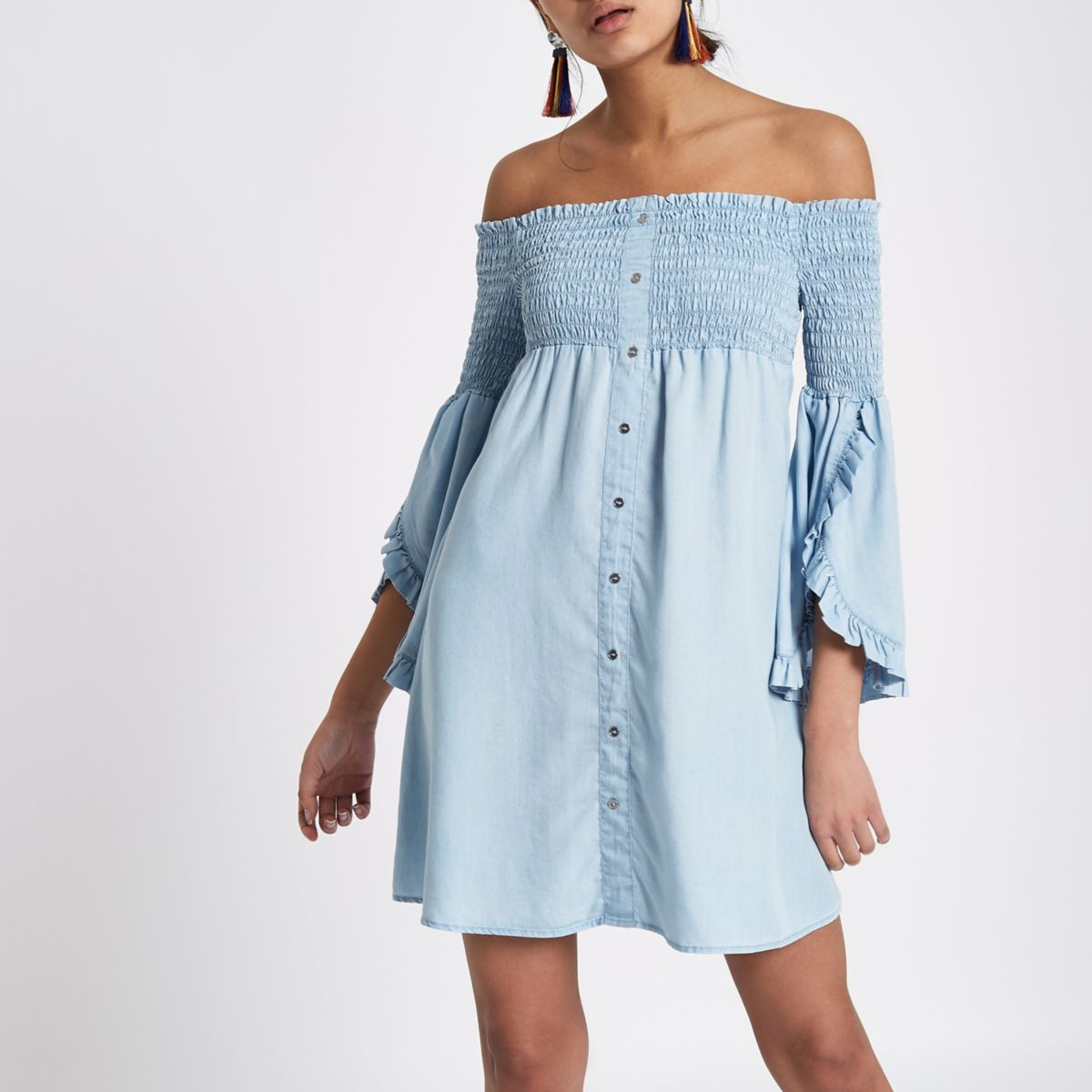 Light blue shirred bardot denim swing dress