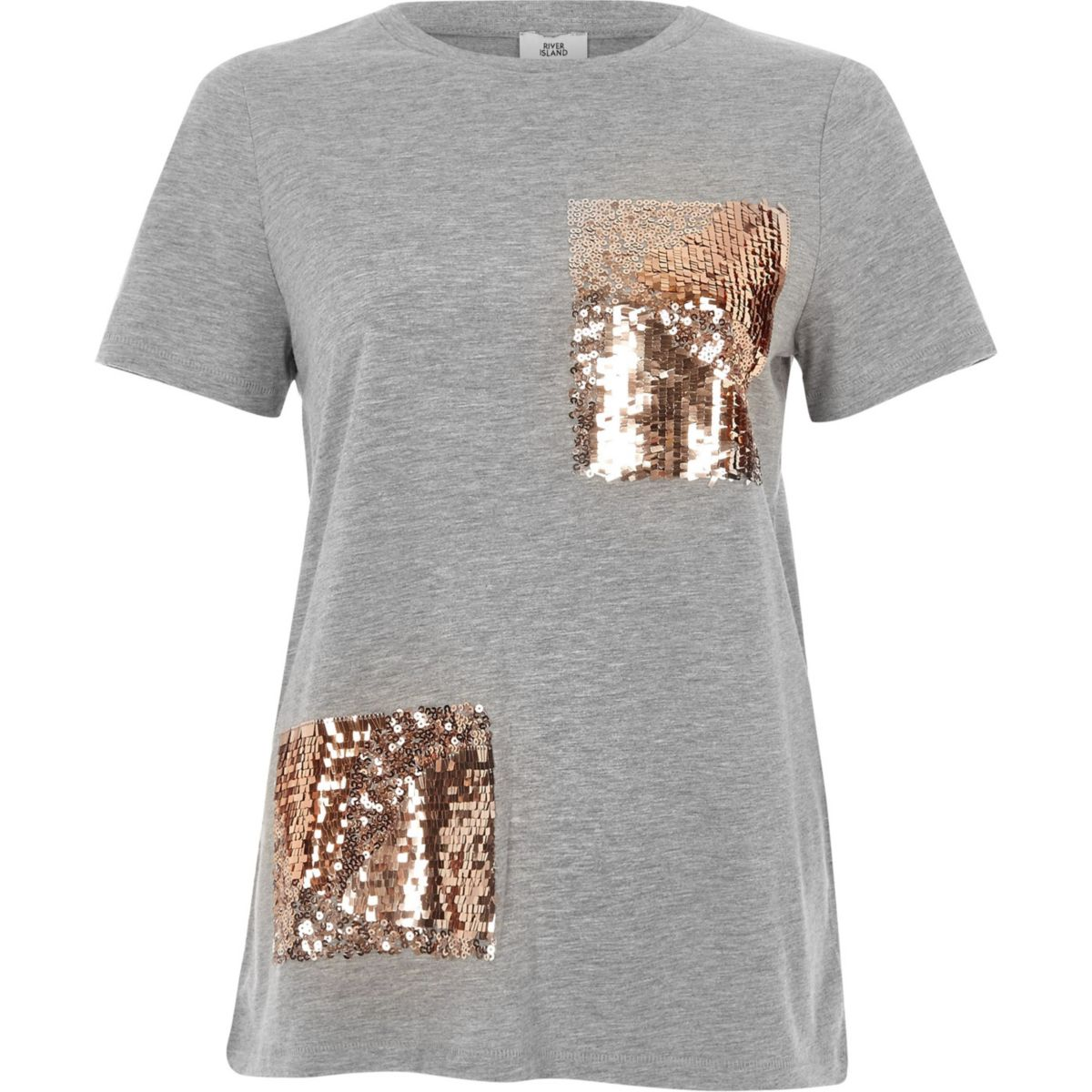 Hellgraues, paillettenverziertes T-Shirt