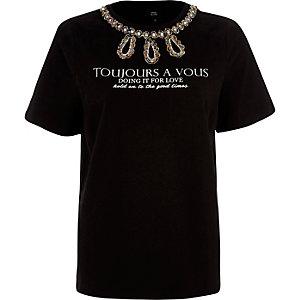 "Schwarzes T-Shirt ""toujours"" mit Perlenverzierung"