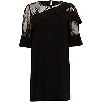 Black lace asymmetric frill swing dress