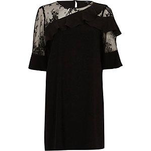 Robe trapèze asymétrique en dentelle noire à volants