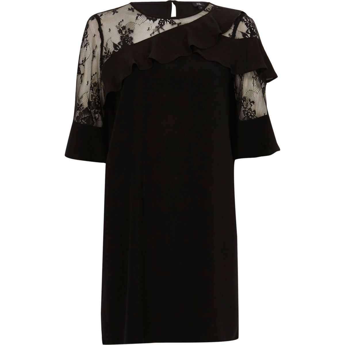 Schwarzes Swing-Kleid mit asymmetrischem Saum