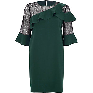 Dark green lace frill swing dress