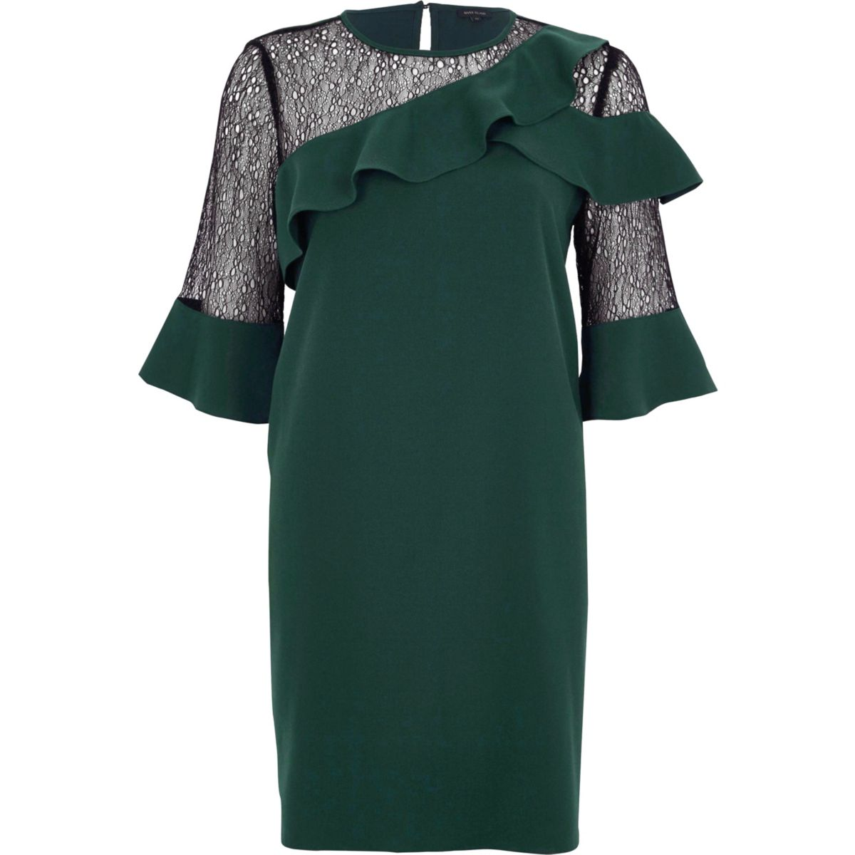 Dark green lace frill swing dress