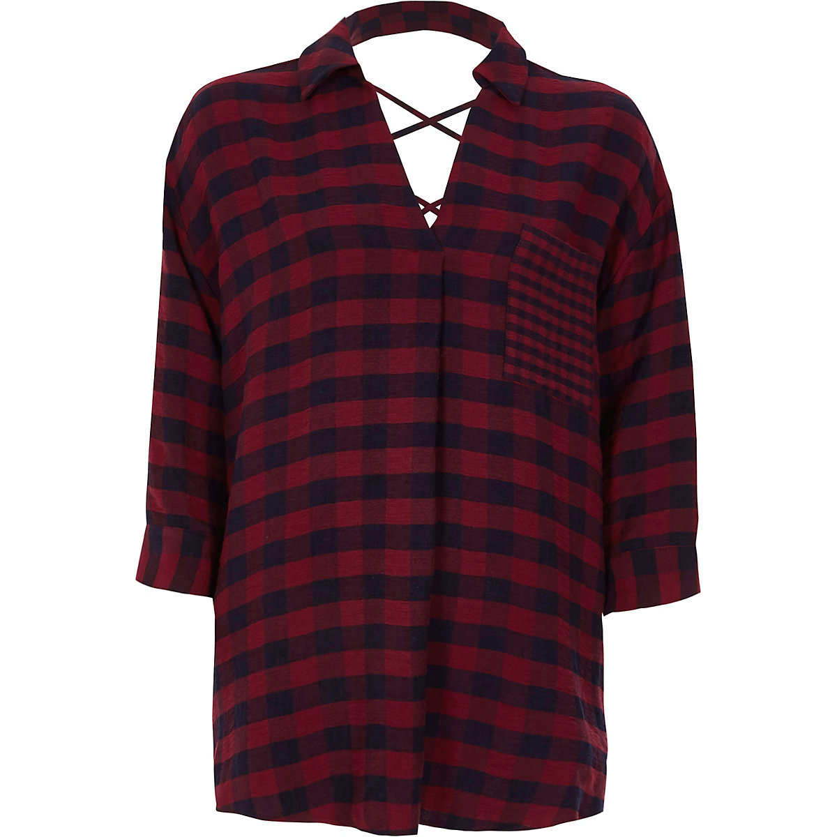 Red check print cross back blouse