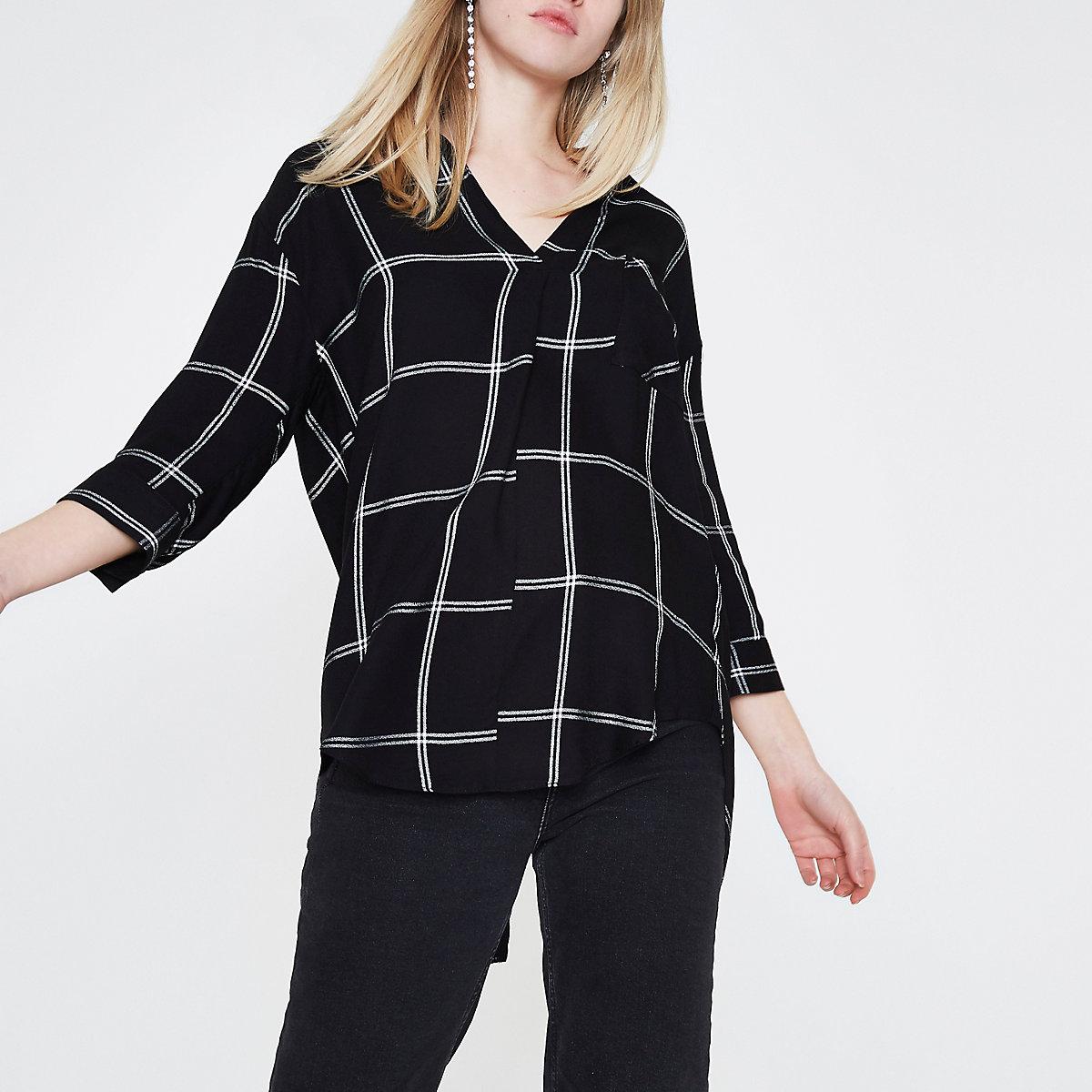 Black window check cross back blouse