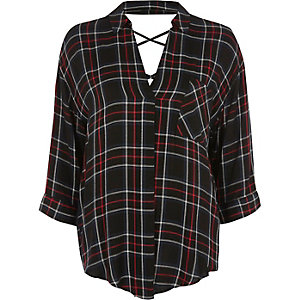 Black and red check cross back blouse