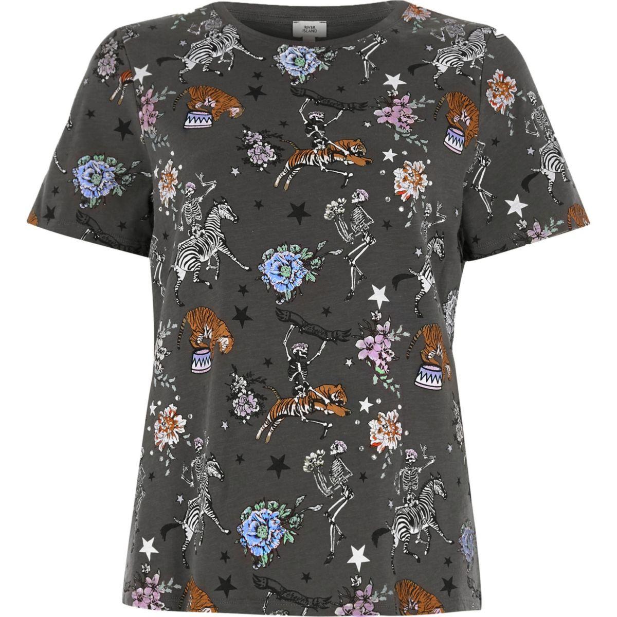 Khaki circus print fitted T-shirt