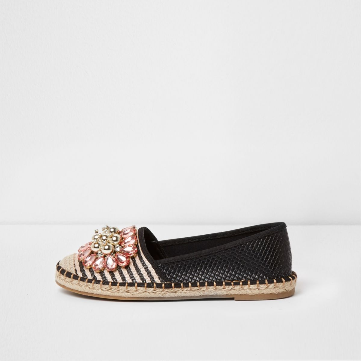 Black stripe jewel embellished espadrilles