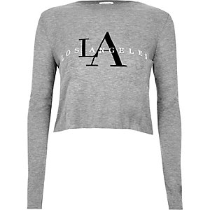 Grey 'Los Angeles' print long sleeve crop top