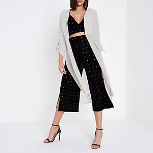 Light grey sheer panel duster coat